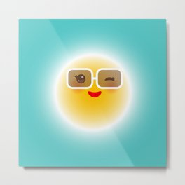 Kawaii funny sun with sunglasses pink cheeks and wink at eyes Metal Print