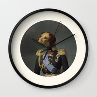 military Wall Clocks featuring dog military by UiNi