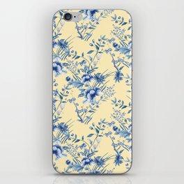 Chinoiserie Flowers Blue on Lemon Honey Creme iPhone Skin