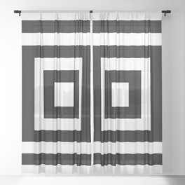 Classic Black White Squares Sheer Curtain