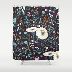 Subsea floral pattern Shower Curtain