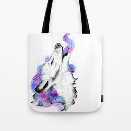 Galaxy Howling Wolf Tote Bag