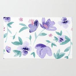 Cute purple flowers pattern Rug