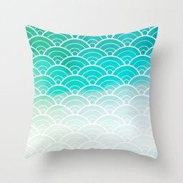 Turquoise Ombre Japanese Waves Pattern Throw Pillow