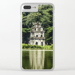 Turtle Tower in the Middle of Hoan Kiem Lake with Trees and the Park behind It in Hanoi, Vietnam Clear iPhone Case