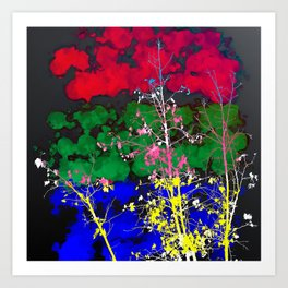 tree branch with leaf and painting texture abstract background in red green blue pink yellow Art Print