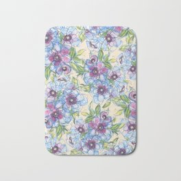 Big Blue Poppies Bath Mat