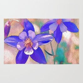 Colorado Columbine Flower Rug