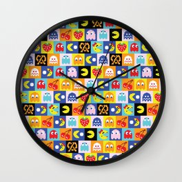 Pac-Man Pattern Wall Clock