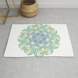 green and blue color mandala Rug