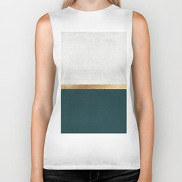 Deep Green, Gold and White Color Block Biker Tank