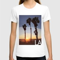 santa monica T-shirts featuring LA: Santa Monica Beach by Adam Stuart