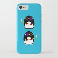 hockey iPhone & iPod Cases featuring Hockey penguin by Jaxxx