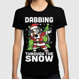 Australian Shepherd Dabbing Through The Snow Christmas T-shirt
