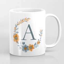 Monogram A Orange Autumn Floral Wreath Coffee Mug