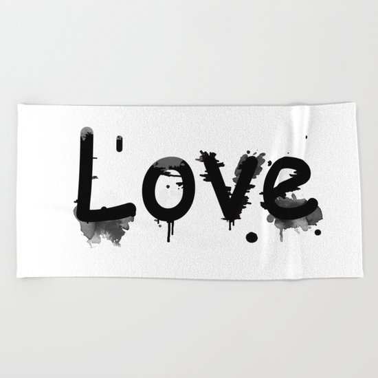 Black and white pattern Love .  1 Beach Towel