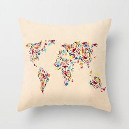 map dinosaur Throw Pillow