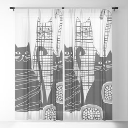 Black and white cats Sheer Curtain