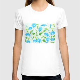 blue morning glory pattern T-shirt
