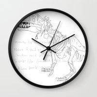t rex Wall Clocks featuring T Rex by Nanu Illustration