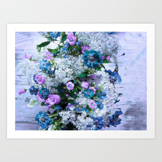 Flowers, Pink, Lilac, Teal Art Print