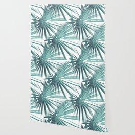 Teal Aqua Tropical Beach Palm Fan Vector Wallpaper