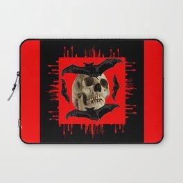 HALLOWEEN BAT INFESTED HAUNTED SKULL RED ART DESIGN Laptop Sleeve