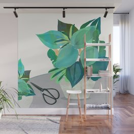 Jungle house plant in a pot collection of leaves Wall Mural
