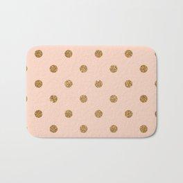 Bisque Gold Glitter Dot Pattern Bath Mat