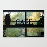 cafe Canvas Prints featuring Cafe by Kasia Wo
