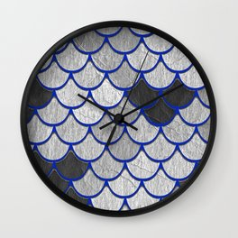 Dragon Scales with Blue Outline Wall Clock