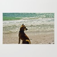 shiba inu Area & Throw Rugs featuring Shiba Inu by Blue Lightning Creative