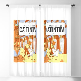 Belgian Comics Cat Tintim Blackout Curtain