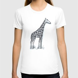 Giraffe (drawing safari animals with my son on a cold afternoon) T-shirt