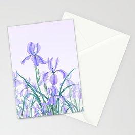 purple iris watercolor Stationery Cards