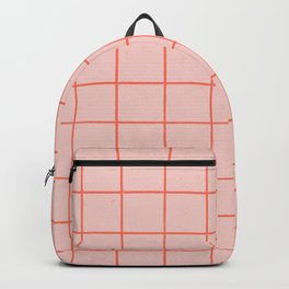 Grid Pattern Peach Backpack