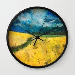 Yellow Fields Wall Clock