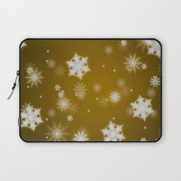 Winter Snowflakes on Christmas Gold Laptop Sleeve