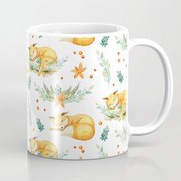 Modern orange teal watercolor fox floral pattern Coffee Mug