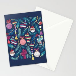 Mexican Christmas Tree // blue background blue pine leaves multicoloured holiday decorations pan dulce balls cacti hearts birds pom-pom garland pinatas santa claus conchas donuts Stationery Cards