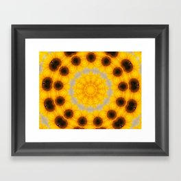 Sunflower and Bee Abstract Framed Art Print