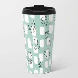 Spotted series abstract dashes and dots mint black and white raw paint texture Travel Mug