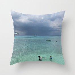 Stormy Island Day Swim Throw Pillow