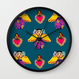 Angels and Corazones (flaming hearts) Wall Clock