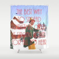 will ferrell Shower Curtains featuring Christmas Cheer / Elf by Earl of Grey