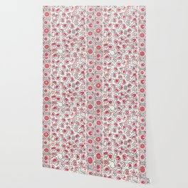 Wildflower I // 18th Century Positive Happy Colorful Red Green Botanical Garden Flowery Pattern Wallpaper