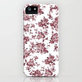 Elegant pastel pink marsala red roses floral pattern iPhone Case