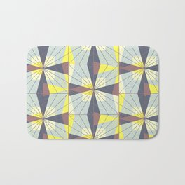 It's complicated. Bold geometric pattern in marsala, yellow and charcoal. Bath Mat