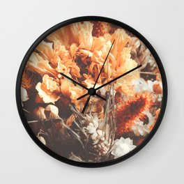 Warm Autumn Dried Flowers Photography Wall Clock