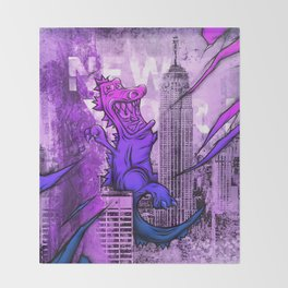 Godzilla Pink & Purple Royal Stain Throw Blanket